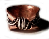 MADE to ORDER Thumb rings in copper, Twisted Fairy rings, Whimsical, enchanted elven band, OOAK hand rolled band, rustic, industrial