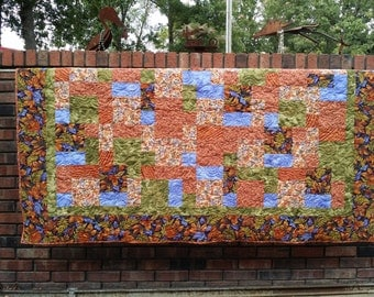 RUSTIC Lap Quilt. Bed Topper. Stadium Quilt. Spectacular fall colors of persimmon, navy, periwinkle, olive.  Ready to ship.
