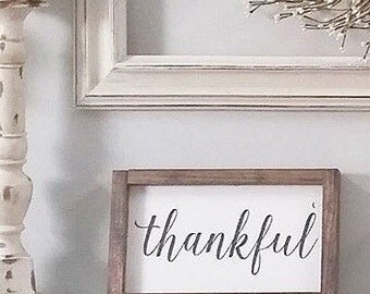 11.5 in x 7 in Thankful wood sign