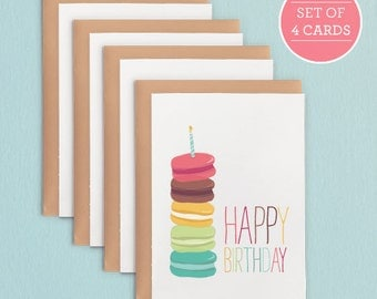 Set of 4 French Macaron Birthday Card