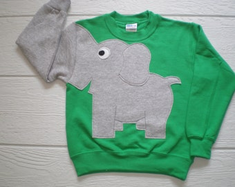 Emerald green Childrens Elephant Trunk sleeve sweatshirt,  sweater, elephant jumper, KIDS small ONLY