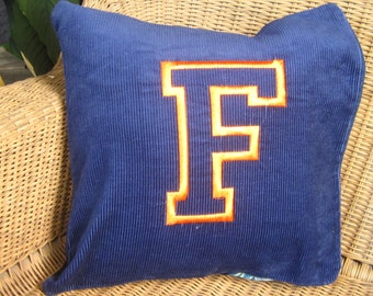 "Sofa Pillow-Navy Blue Corduroy with Large Orange F 16 X 16 Throw Pillow with Embroidered Gator Orange "" UF "" with Orange Linen Envelope Back"