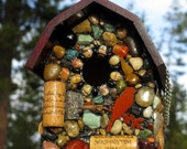 Mosaic birdhouse built to last outdoor spring bird house natural eco friendly stone birdhouse red mahogany recycled wine corks yard decor