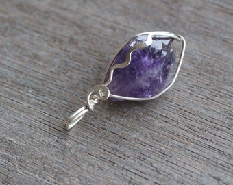 Amethyst Sterling Silver Wire Wrapped Pendant #5228