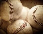 Art for Boys Room, Art for Baseball Player, Baseball Print or Canvas Wrap, Baseball Picture, Baseball Decor, Picture of Baseballs, Brown.