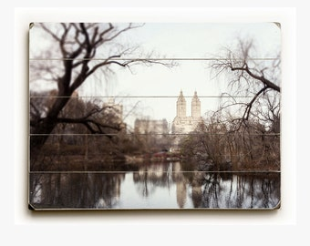 Wood Sign: New York Landscape Photography, New York City Art, Upper West Side Wood Plank, NYC Picture, Grey, Brown, Urban Art.