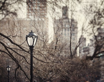 New York City Photography, Central Park Lamppost, Upper East Side, Urban Photograph, Architecture Print or Canvas Wrap, Grey, Beige, Cream.
