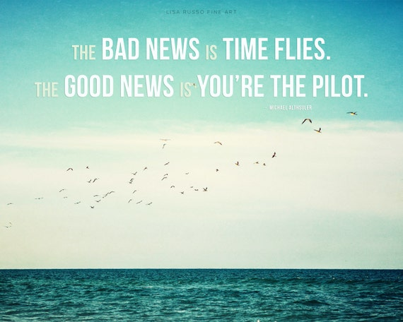 Time Flies Motivational Print Or Canvas Art Beach Decor With
