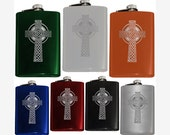 Engraved CELTIC CROSS FLASKS, 8oz Stainless Steel, Irish Cros Cheilteach