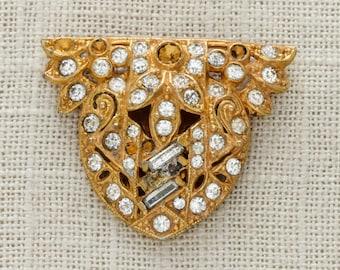 SALE Gold Rhinestone Dress Clip   1920s 30s Dressclip True Vintage Jewelry   Rhinestone Crystal Bling Jewelry for Bouquet   Vtg Pin 15E