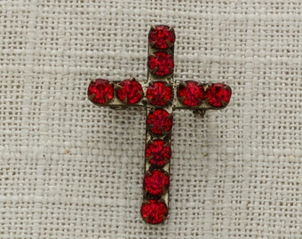 Red Crystal Cross Pin Vintage Christian Brooch   Ruby Red Rhinestones Religious Jewelry Christmas Church Broach Pins for Bouquet Vtg Pin 15G
