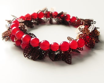 Red chalcedony and copper filigree leaves memory wire gemstone wrap bracelet