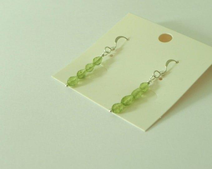 Peridot sterling silver green gemstone faceted drop earrings august birthstone|Green faceted gemstone|August gift