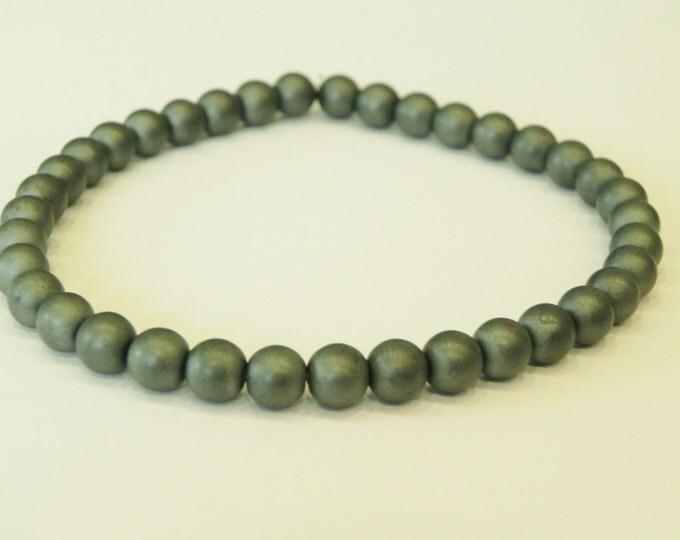 Mens matt hematite surfer style bracelet|grey gun metal gemstone|stackable|haematite|matt look|frosted