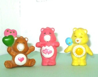 "Care Bears Vintage 2"" Rubberized Figurines - Lot Set Of 3"