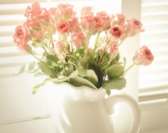 Rose Floral Photography Bouquet of Pink Roses,home decor,baby nursery artwork,soft blush,water pitcher filled with roses,shabby chic,dreamy