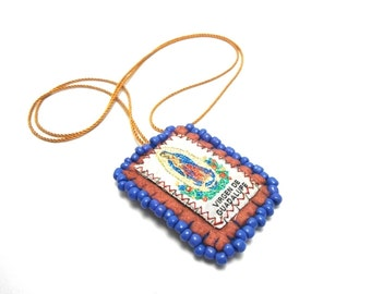 virgin guadalupe escapulario felt necklace