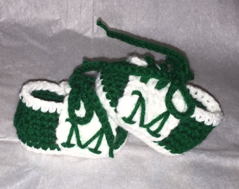 Crochet Marshal Thundering Herd Newborn Saddle Baby Shoes, Made to Order, Free US Shipping