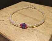 Sundance Style Ethiopian Welo Opal Stacking Bracelet, Tanzanite, Pink Sapphire and Bali Silver Accents - Layering Bracelet, Skinny Bracelet