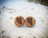 Wood Nevada State Small Stud Earrings
