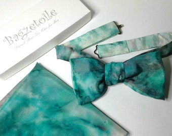 Mens bow tie, for him, pure silk, freestyle, hand painted, garden colours, self tie.