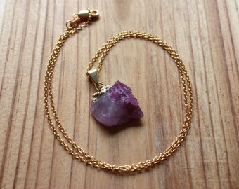 Pink Tourmaline Necklace - Raw Tourmaline Gold Capped Pendant - Gold Filled Chain - Rough Gemstone Necklace - October Birthstone