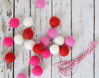 Valentines Day DIY Felt Ball Garland Kit 20 2.5 cm Felt balls Red Pink White + 3 yds Twine