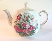 Vintage Ellgreave England Ironstone Ceramic Teapot- Basket Of Flowers