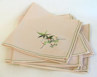 7 Lovely Large Vintage Embroidered Linen Dinner Napkins- Palm Trees & Sailboats