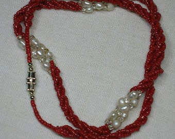 Coral & Pearl Necklace, c1980s. Torsade style, Gorgeous!