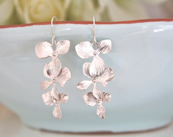 Silver Orchid Dangle Earrings, Bridesmaid Jewelry, Bridesmaid earrings, Silver Jewelry, best friend gift, mothers day gift best selling item