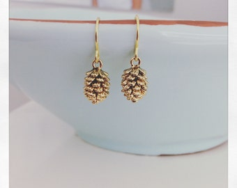 Gold Earrings, gold pine cone earrings, Bridesmaid Jewelry, rustic wedding dainty gold earrings gifts for her best friend gifts nature