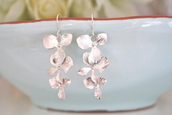 Silver Orchid Dangle Earrings, Bridesmaid Jewelry, Bridesmaid gifts, Silver Jewelry