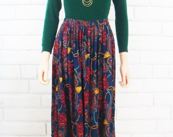 80's PAISLEY MIDI SKIRT vintage ornate boho pull on flowy jewel toned skirt M