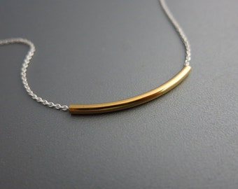 Mixed Metals Bar Necklace Simple Bar Necklace
