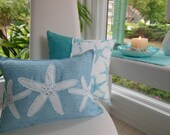 Beach Starfish Jeweled Designer Lumbar Pillow - Iced Blue Decorative Lumbar Pillow - Seaside Seashell Collection - 12 x 16 inch