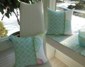 Spiral Design Pillow - Lime Green Pillow - Polka Dot Pillow - Robin Egg Blue Pillow - Geometric Pillow - Reversible Pillow - Aqua, Raspberry