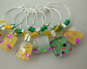 Glass Wine Tags - Yellow Charms Emerald Green Purple - Set of Six - Glass Wine Charms - Hostess Gift - House Warming Gift - Entertaining