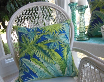 Tropical Pillow - Large Palm Leaf Pillow - Teal Pillow - Green Pillow - Large Pillow - 20 x 20 Inch Pillow - Sofa Pillow - Bedroom Pillow