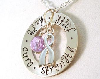 Cancer Awareness Necklace - Hope Faith Cure Strength - Hodgkins Lymphoma Awareness Jewelry - Hodgkins Disease Awareness Necklace