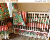 SALE--VALENTINES SALE---- Bliss Bouquet Crib Bedding- Made To Order- Baby Bedding- Gold Bedding