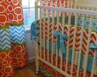 SALE--VALENTINES SALE---- Crib Bedding- Made To Order--Baby Bedding-- 3 pc Boy Crib Bedding Set