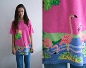 Flamingo Chunky Knit Sweater / 90s Grunge Retro Neon Pink Embroidered Blouse Oversized Slouchy Knitted Jumper Embellished Novelty medium