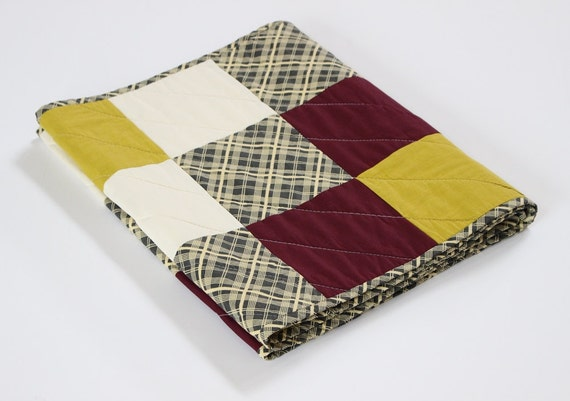 Gold Gray Handmade Patchwork Table Runner