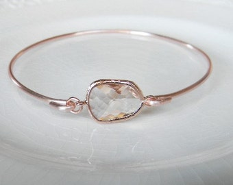 Rose Gold Bangle Bracelet / Peach Champagne Bracelet / Bridesmaid Gift / Bridesmaid Jewelry / Rose Gold Bridesmaid Bracelet / Gift  For Her