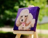 Miniature Poodle Oil Painting on Miniature Stretched Canvas - Small Canvas Art - Magnet