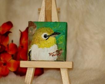 Little Knit Bird Painting Magnet - Original Artwork - Miniature Canvas