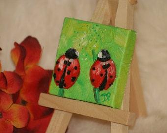 Miniature Canvas Ladybug Oil Painting - Magnet