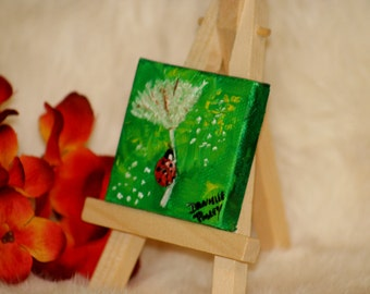 Miniature Canvas Ladybug Fly Away Painting - Magnet