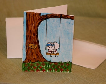 Bigli Migli Valentine Card - Handmade Card and Envelope